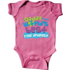 Inktastic My Daddy Is The World's Best Risk Analyst Infant Creeper Baby Bodysuit Child's Kids Gift Analyst's Son Childs Like Cute Occupation Apparel Occupations One-piece Hws, Boy's, Size: 18 Months, Pink