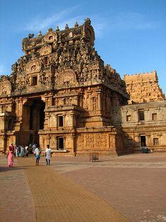 Brihadishwara Temple    Thanjavur - Tamil Nadu - South India.  Brihadishwara Temple (10th century). Tamil Nadu's most awesome Chola monument. The entrance gopuram were buit with famous Sandstone. Dedicated to Shiva.