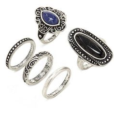 Forever 21 Faux Stone Ring Set ($5.90) ❤ liked on Polyvore featuring jewelry, rings, imitation jewelry, stone rings, artificial jewellery, forever 21 and fake jewelry