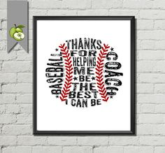 Baseball Coach Appreciation gift PE Phyical education phys ed Coach team typography BaseBall  DIY Printable wall art print birthday