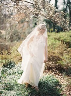 Wedding dress with drop veil via once wed