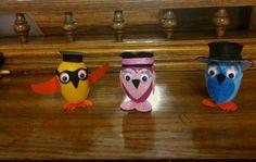 Plastic egg owl family