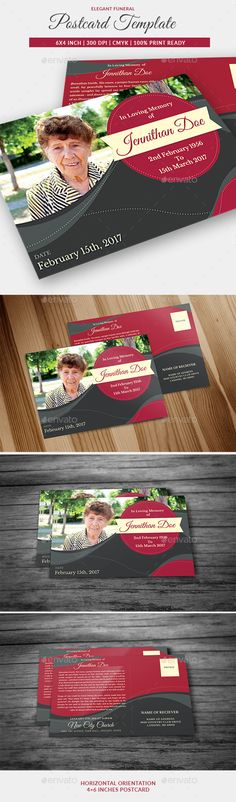 Funeral Program Post Card Template 05