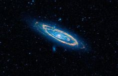 False-color image of the mid-infrared emission from the Great Galaxy in Andromeda, as seen by Nasa's WISE space telescope. Credit: NASA/JPL-Caltech/WISE Team