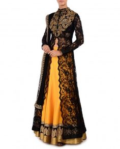 Sunglow Yellow Lengha Set with Black Lace Jacket