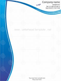 Blue Wave Letterhead Free Letterhead Templates, Company Names, Flyer Template, Places To Visit, Waves, Marketing, Blog, Blade, Accessories