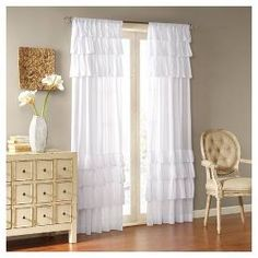 Madison Park Joycelyn Cotton Oversized Ruffle Curtain Panel - Overstock Shopping - Great Deals on Madison Park Curtains Custom Drapes, Paneling, Home Essence, Decor, House Of Hampton, Panel Curtains, White Paneling, Ruffle Curtains, Living Design