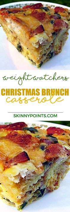 Christmas Brunch Casserole - Weight watchers Smart Points Friendly by manuela Weight Watchers Casserole, Weight Watchers Breakfast, Weight Watcher Dinners, What's For Breakfast, Breakfast Dishes, Breakfast Recipes, Breakfast Sandwiches, Breakfast Items, Morning Breakfast