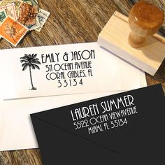Art Deco Address stamp with or without a vintage palm tree by Designkandy, $24.95