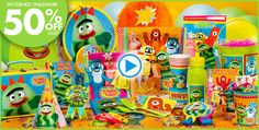 Yo Gabba Gabba Party Supplies at Party City.. their gabba theme is different from birthday express, could mix & match but most of party city's ygg decorations & favors are alot cheaper than bday express