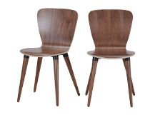2 x Edelweiss Dining Chairs, Walnut and Black