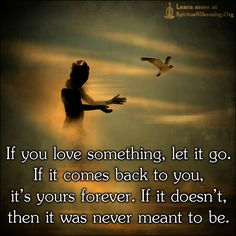 If you love something, let it go. If it comes back to you, it's yours forever. If it doesn't, then it was never meant to be