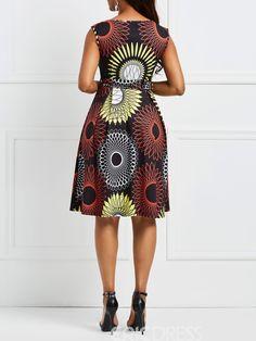 Ericdress Floral V-Neck Pullover Sleeveless A-Line Dress 13318345 - Er. African Shirt Dress, African Dresses For Kids, African Maxi Dresses, African Attire, African Fashion Designers, African Fashion Ankara, Latest African Fashion Dresses, African Print Fashion, African Print Dress Designs