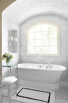 Bathroom, : Charming Design For Small Bathroom With Tub Areas With White Marble Bathroom Wall Along With Oval White Ceramic Bathtub And Black And White Tile Bathroom Floor Bad Inspiration, Bathroom Inspiration, Bathroom Ideas, Bathroom Designs, Modern Bathroom, Bathroom Interior, Bathroom Black, Minimalist Bathroom, Contemporary Bathrooms