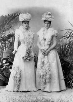 Princess Alix of Hesse and by Rhine with her sister Princess Elisabeth aka Ella. (Ella married Grand Duke Sergei Alexandrovich, uncle of Nicholas II, and was murdered by Bolsheviks in 1918)