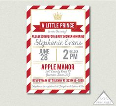 Prince Baby Shower, A Little Prince is on the Way, Red and Gold Prince Shower Invite, Digital Invitation, Printable Invitation, Baby Boy  *** Also