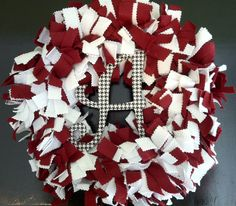 Front door wreath  You can find this wreath as well as many other color combinations/school colors at www.facebook.com/CrimsonAlley.  Please be sure to like us!