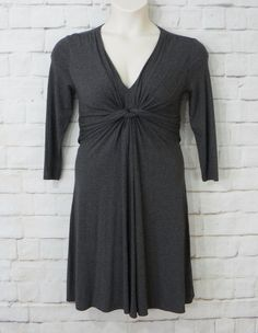 Womens NEW YORK & COMPANY Gray Ruched Empire Waist ¾ Sleeve Knit Dress Size…