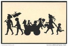 CPA Scherenschnitt von des enfants die avec ihrem Bollerwagen unterwegs sind