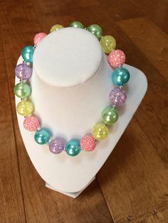 Bubblegum Necklace with Spring or Easter Colors by BabyBaublesAZ