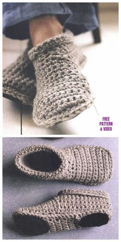 DIY Sturdy Crochet Slipper Boots Free Pattern from SMP Craft. (True Blue Me and You: DIYs for Creatives) : DIY Sturdy Crochet Slipper Boots Free Pattern from SMP Craft. I really like the look of these slippers…For more Free knitting ideas, head to ww Knitting Projects, Crochet Projects, Knitting Patterns, Free Knitting, Knitting Ideas, Sewing Projects, Free Crochet Slipper Patterns, Crochet Ideas, Cloth Patterns