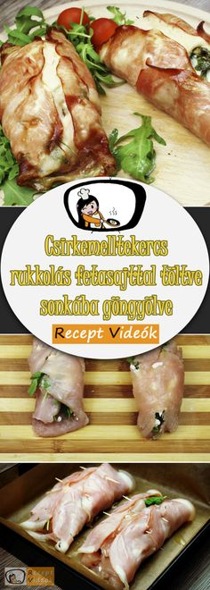 Stuffed chicken with feta cheese and rocket wrapped in ham recipe with video. Detailed steps on how to prepare this easy and simple recipe! Ham Recipes, Grilling Recipes, Healthy Recipes, Recipe R, Chicken Breast Fillet, Tasty Dishes, Food Videos, Food And Drink, Easy Meals