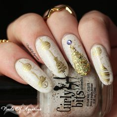 Christmas nail art, white Christmas, Girly Bits Eggnogoholic, KBShimmer Dressed to Gild, MoYou London Festive 18