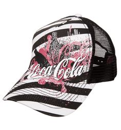 Coca-Cola Black And White Trucker Cap We are loving the vintage feel of this awesome Coca-Cola baseball cap! Featuring a stripe design with intentionally distressed finish, this is bound to be POPular! http://www.MightGet.com/february-2017-3/coca-cola-black-and-white-trucker-cap.asp