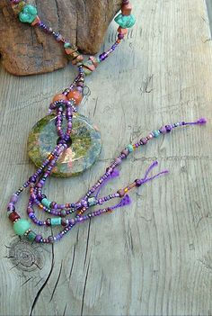 Boho, Sundance Style, Bohemian Jewelry, Artisan Necklace, Gemstone. $128.00, via Etsy.