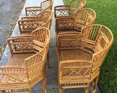 Rattan Furniture, Outdoor Furniture, Bamboo Mirror, Chair Redo, Outdoor Chairs, Outdoor Decor, Round Top, Chinoiserie, Home And Living