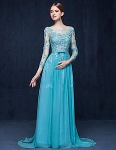 Formal Evening Dress Sheath / Column Scoop Sweep / Brush Train Chiffon / Tulle with Appliques / Beading – EUR € 220.50