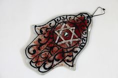Jewish Judaica Home Blessing  Hamsa  Red with by virtulyglass