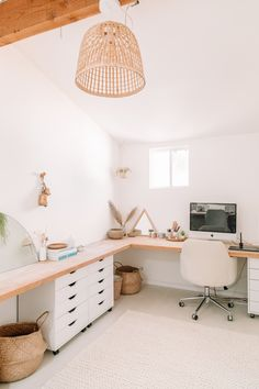 chic home decor Home Office Space, Home Office Design, Home Office Decor, House Design, Ikea Office, Office Spaces, Amazon Home, White Rooms, Minimalist Bedroom