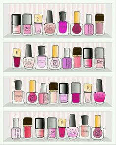 "#nailpolish #girly #fashion #chic #illustration #dior #ysl #essie #el #yvessaintlaurent #esteelauder #nail #polish #pink #red #rose #rouge - More illustrations LINE BOTWIN ""girly illustrations"""