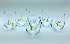 Sets of 5 6 7 or 8 Personalized stemless wine glasses font