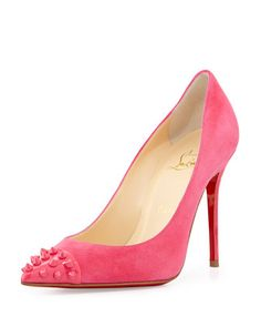 Geo Spike Point-Toe Red Sole Pump, Pink by Christian Louboutin