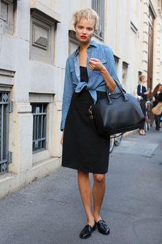 MFW Model Street Style: Magdalena Frackowiak's Denim Shirt | The Front Row View