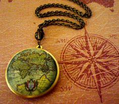 Awesome idea, world locket  https://www.etsy.com/listing/87938096/art-locket-necklace-vintage-old-world