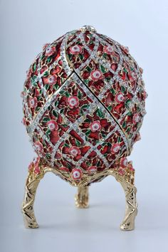 Egg with Red Roses Trinket Box by Keren Kopal - Faberge Egg Swarovski Crystal
