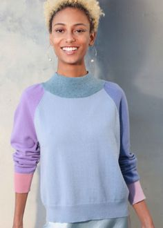 This six tone cashmere sweater is a limited edition to the collection. It has a small puff gathered shoulder sleeve detail with a thick neck band in contrast colour and a raglan sleeve. It's knitted to a relaxed fit that falls just above the hips. Ribbed knit detailing at the neckline, cuffs, and hem ensures a comfortable fit. Would suit a short body woman. Winter Wardrobe, Shoulder Sleeve, Wardrobe Staples, Cashmere Sweaters, Cuffs, Contrast, Ss, Crew Neck, Neckline