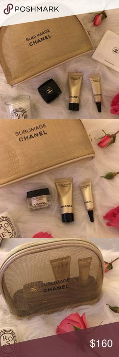 New CHANEL sublimage set! LA CRÈME: 0.17 OZ Plumps skin INSTANTLY   LA CRÈME creates a glowing, luminous and even-toned complexion. Facial contours become visibly firmer and signs of aging seem to disappear. L'ESSENCE: 5ml Help to reveal the complexion's original purity and luminosity. Skin feels noticeably softer by 33%*, while radiance and tonicity are increased by 25%* and 23%*, respectively.  LA CRÈME YEUX: 3ml The eye cream is use in the evenings reducing puffiness as you sleep. CHANEL…