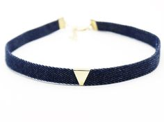 Fashion Gothic Blue Denim Choker Necklace For Women Punk Personality Gold Plated Triangle Sequin Jeans Chockers Jewelry For Girl