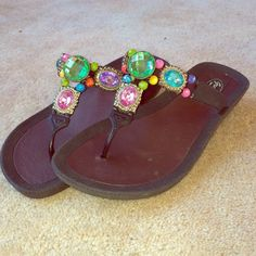 Grandco Sandals Super fashionable sandals. Bought from Hallmark and never worn. They have a small heal and super cute gems. Size: 7. Grandco Sandals Shoes Sandals