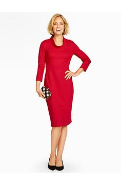 Talbots - Three-Quarter Sleeve Ponte Sheath Dress | |