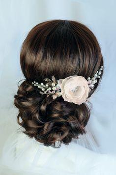 ivory bridal hair flower, ivory flower, wedding hair clip, bridal hair clip, wedding hair flower, bridal fascinator, flower hair clip floral by TopGracia on Etsy https://www.etsy.com/au/listing/223607360/ivory-bridal-hair-flower-ivory-flower
