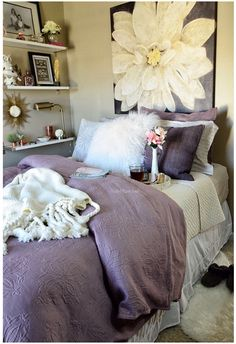 Love the art, the colors, the fluffy pillow the shelving fluffy rug