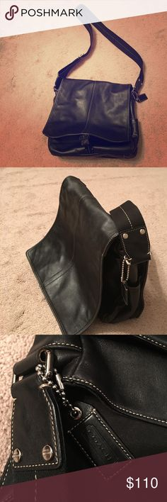 Black Coach Crossbody Bag You will find an exquisite black coach crossbody bag that is 12x 12x4.  It is great for traveling or just moving in the city.  Could've a great man bag!  Very gently worn.  Sturdy hardware. Coach Bags Crossbody Bags
