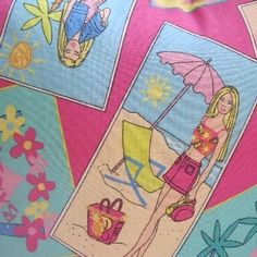 Barbie Tropical Beach Scene Fun Girls Handmade Pillow