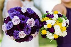Purple bridal bouquet with purple and yellow bridesmaid bouquets