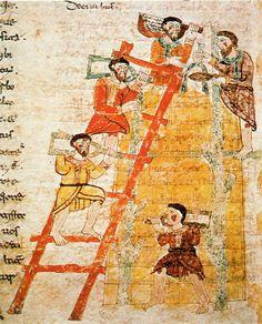 """Construction de la Tour de Babel, Raban Maur: miniature de 1023 """"De Originibus"""" de Ran Maur; Mont-Cassien, Bibliothèque de l'abbaye, Codex 132."""